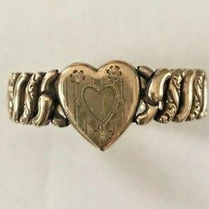 Vtg Gold over Sterling Sweetheart Bracelet